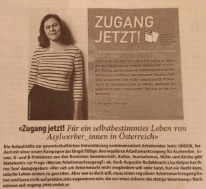 AUGUSTIN Bericht über UNDOK-Infokampagne ZUGANG JETZT!