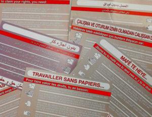 Arbeiten ohne Papiere: Info-Postkarten in verschiedenen Sprachen
